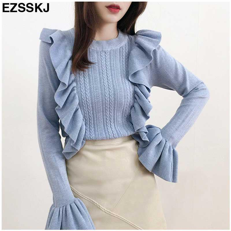 2017 women Ruffled sweater Trim Flare Sleeve Ladies Soft Quality Sweater Solid Pullovers Women's Stylish Bottom Knitted top