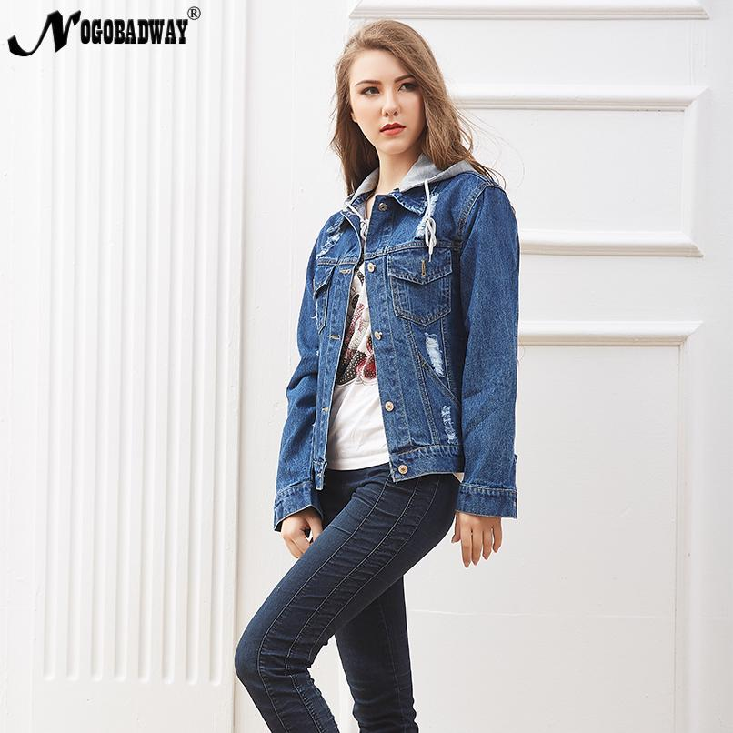 5cb006eef1e1 Removable Hooded Jean Jacket Autumn Womens Denim Coat Vintage Casual  Outerwear Loose BF Winter Spring Hole Short Jeans Jackets Kids Leather  Jackets Cheap ...