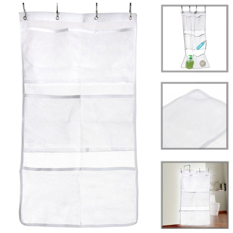 2018 Bath Shower Organizer Quick Dry Hanging Curtain Rod Liner Hooks Mesh Bathroom Accessories From Elecc 2467