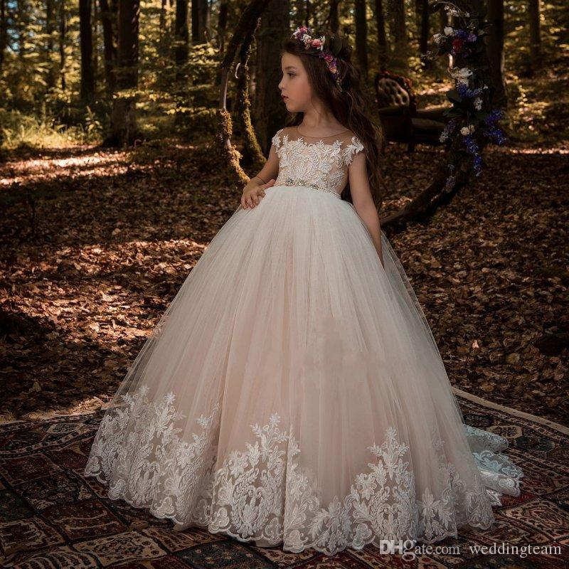 2019 Cheap Lace Ball Gown Beaded Flower Girl Dresses For Wedding