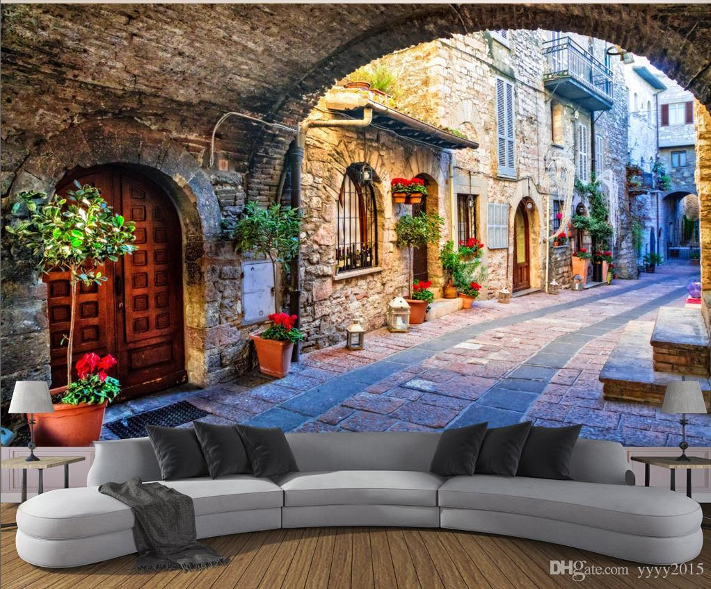 3d Wallpaper Living Room Italian Town Street View 3d ...