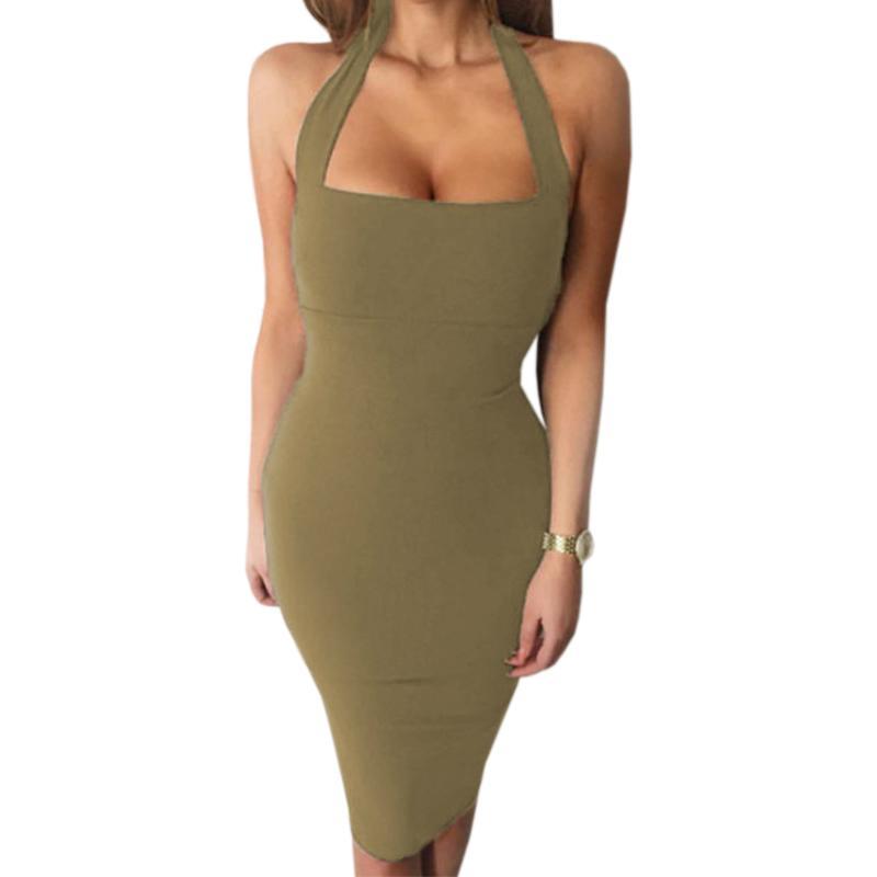 3f1867ffd4e5b Sexy Bandage, figurbetontes Kleid Halter trägerlos Party Kleider ärmellos  2018 Sommer Frauen Kleid Party Mujer Knielang GV649