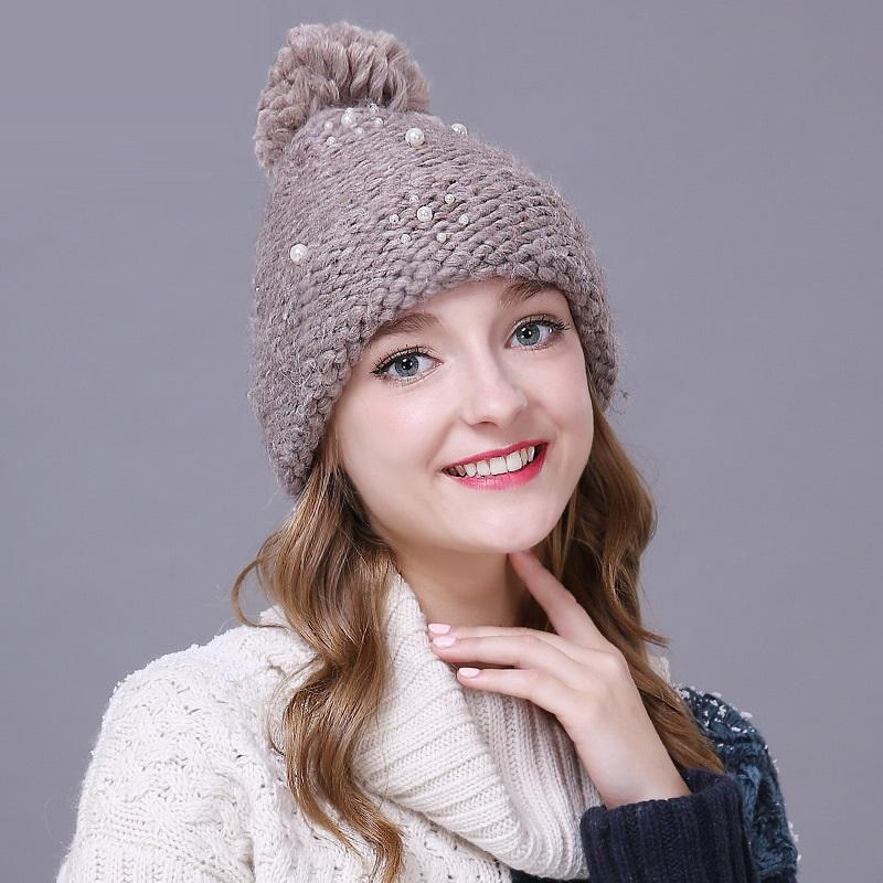 6dca17973a3 Lady Handmade Pompom Hat Girls Beaded Knitting Wool Hat Ladies Fall Winter  Pullover Cap Winter Warm Adjustable B 8646 Ski Hats Newborn Hats From  Mantous