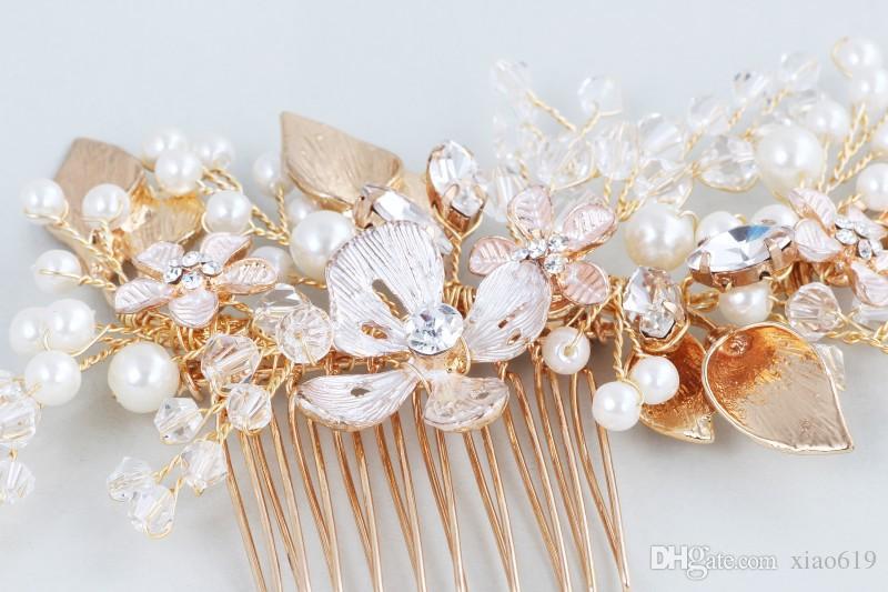 2019 Hot Gold Floral Pedazo de pelo Perla de la boda Perlas Joyería nupcial Mujeres Prom Accesorios para el cabello Gorros