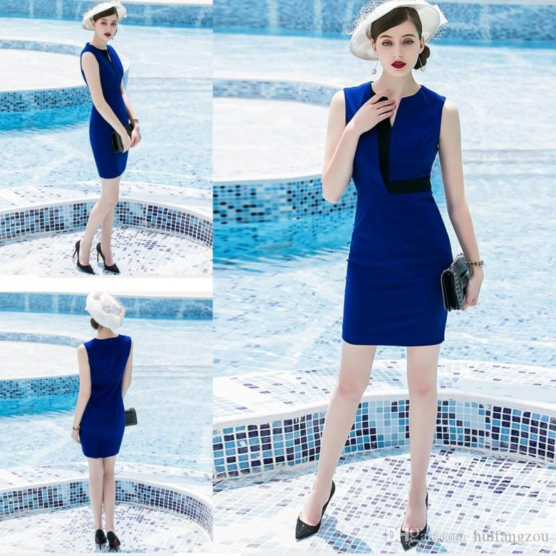 a973c7ba7d0 2018 Fashion Blue Mother Of The Bride Dresses Sleeveless Short Sheath Satin  Women Formal Dress For Many Occasions Mother Of The Bride Dress Shops Near  Me ...