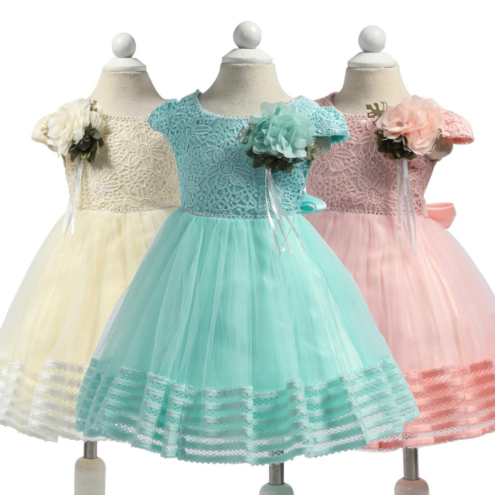 3006e8869580 2019 Infant Party Dresses 2018 New Short Sleeves Baby Dress For 1 Year Girl  Birthday Toddler Newborn Christening Gowns From Bdshop