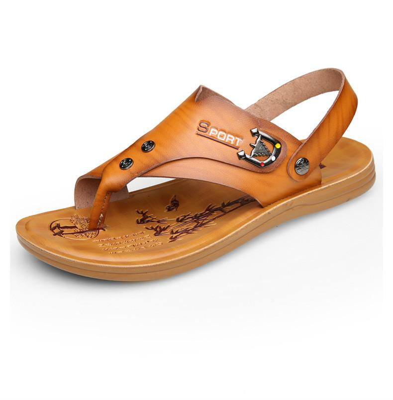 b9498cc5b 100% Genuine Leather Sandals 2018 Summer New Male Breathable Antiskid Beach  Shoes Special Charm Men S Shoes Large Code 38 44 Platform Shoes Prom Shoes  From ...