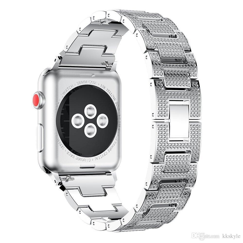 Apple iWatch 5 4 bande de métal 40mm 44mm, remplacement du bracelet réglable avec accessoire de bracelet en strass pour Apple Watch 38mm 42mm 3 2 1