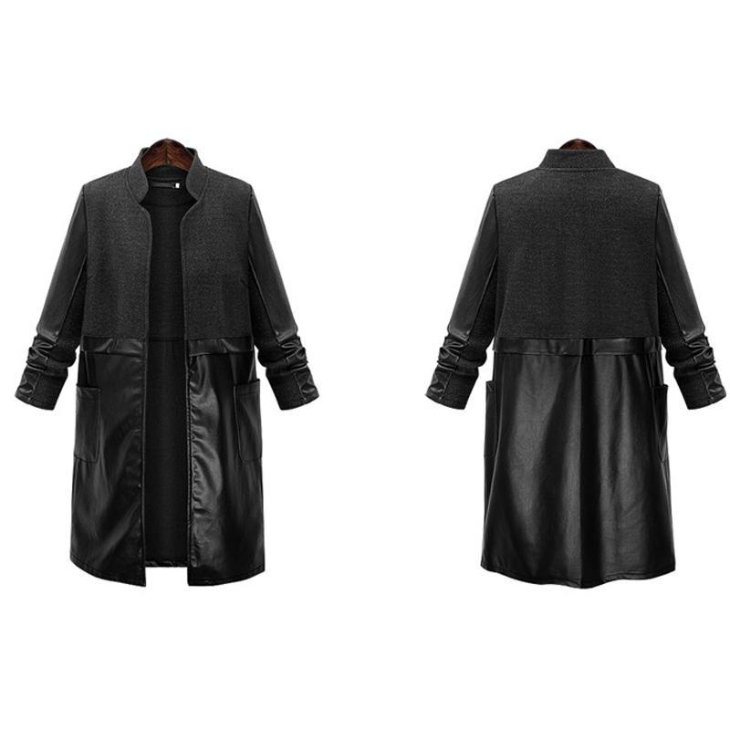 2018 Winter Plus Size XL- 5XL WoolBlends Patchwork PU Leather Women Giacche European Style Basic Coat Nero Female Capispalla