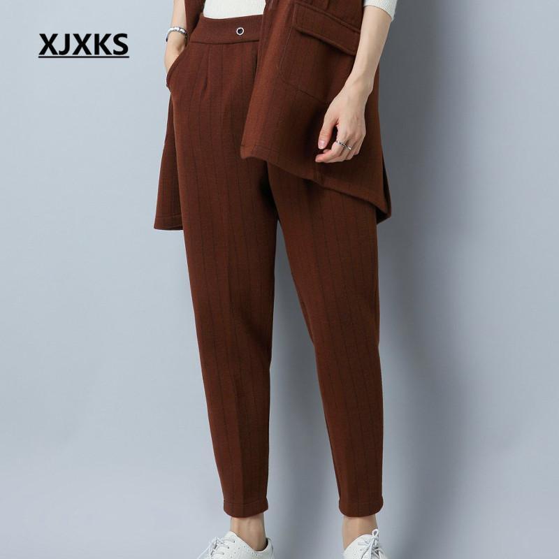 e6586e8e7f2 XJXKS New Selling Harem Pants Women Fashionable Vertical Stripes ...