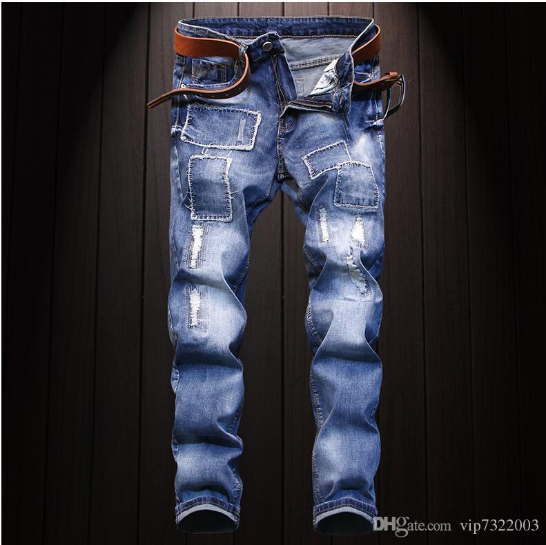 89169117b 2019 2018 New Fashion Style Men Moto Biker Jeans Straight Slim Fit Man  Denim Pants Distressed Black Jeans Male From Vip7322003, $22.34 | DHgate.Com