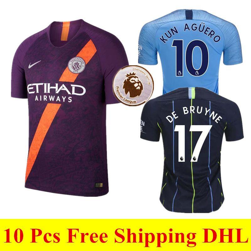 Compre AAA + Qualidade 18 19 New Manchester City Terceiro Jersey MAHREZ  JESUS AGUERO Camisas De Futebol 2018 2019 Longe De Casa SANE DE BRUYNE Man  City ... fe833f888f12f