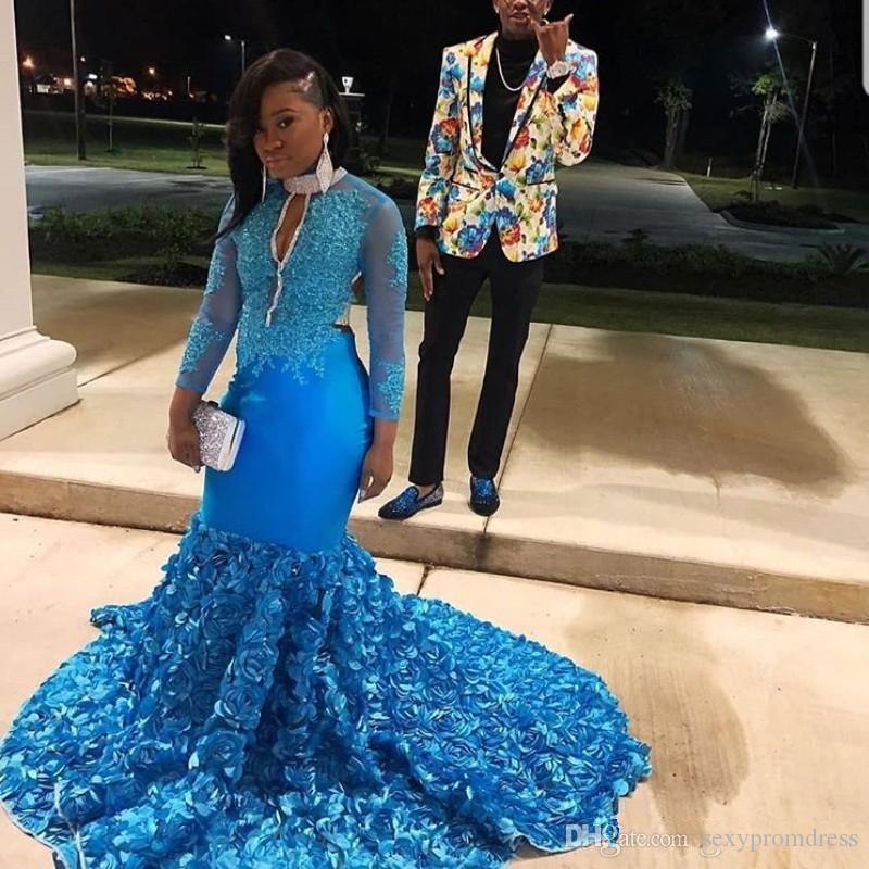 Blue Plus Size Prom Dresses South African Sheer Long Sleeves Mermaid  Evening Gowns Sweep Train Ruched Formal Party Dress For Women