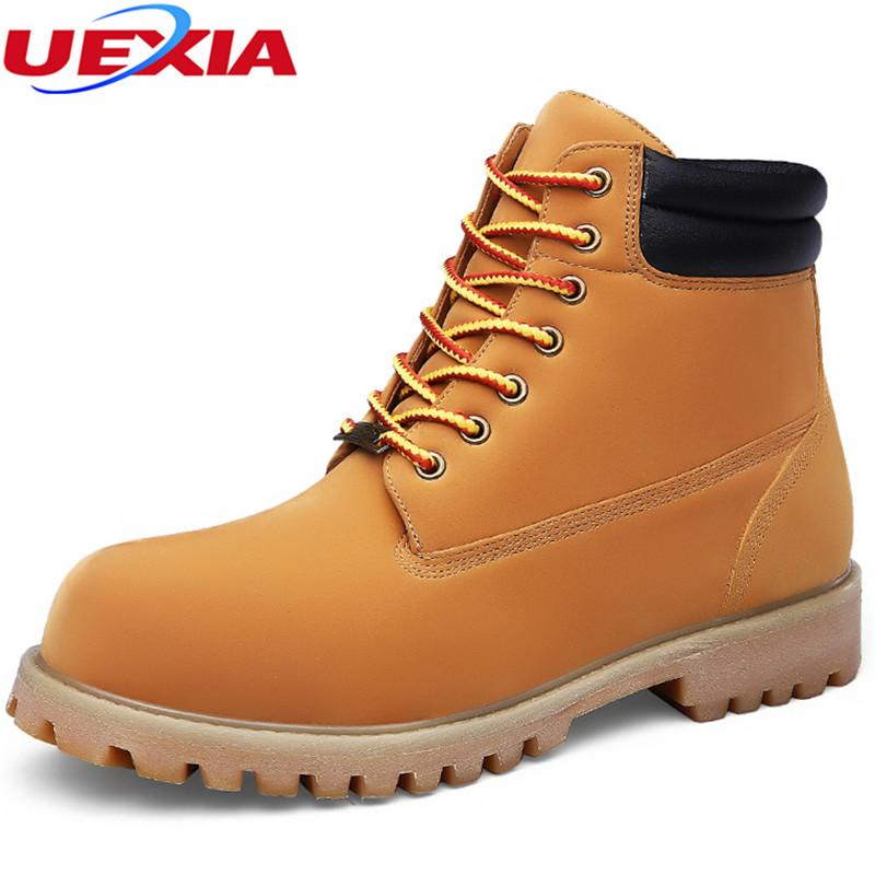 UEXIA Fashion Lederstiefel Herren Schuhe Casual Leder Mokassin Motorrad Business Martin High Casual Chaussure Homme Big Size 50