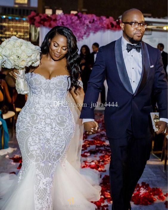 Sereia Vestidos De Casamento 2019 Modest Plus Size Fora Do Ombro Trumpet Vestidos de Noiva Sweep Trem Tulle Rendas Vestido De Noiva Africano Custom Made