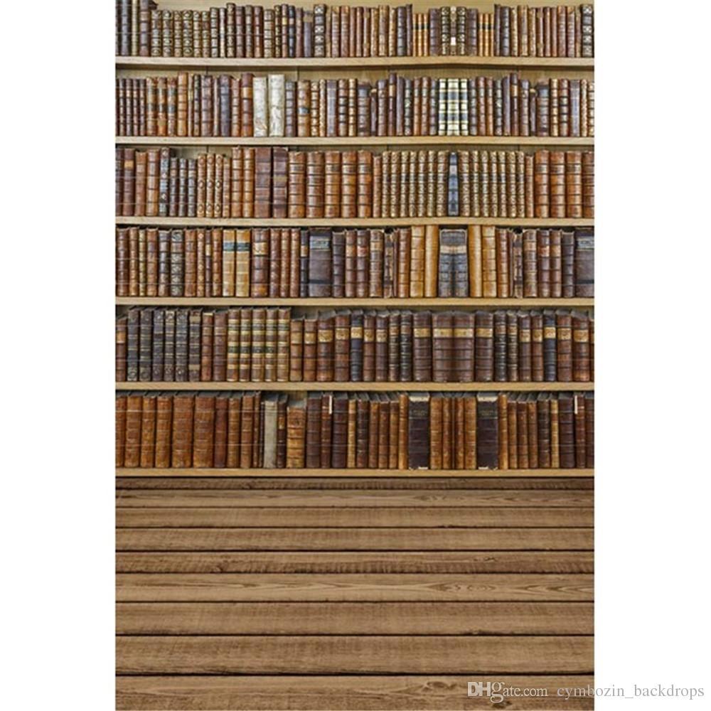 2018 Vintage Books Bookshelf School Vinyl Backdrops For Photography Graduation Season Kids Children Photo Studio Backgrounds Wooden Floor From