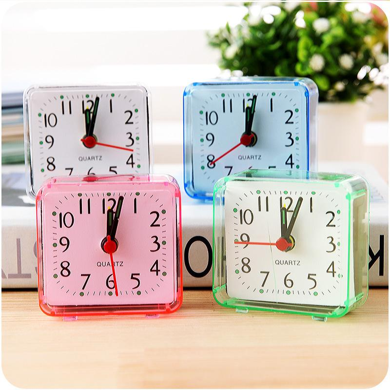 Mini Mute Children Student Desk Watch Bedside Desk Table Home Square Small Bed Alarm Clock Travel Clock