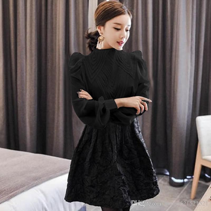 2018 весна новый корейский мода Женская стенд воротник с длинным рукавом слоеного рукав вышивка кружева лоскутное шифон OL блузка рубашка