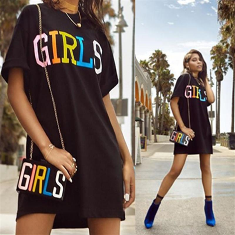 b7eb532babff 2019 Fashion Black T Shirt Dress Women 2018 Summer Girls Letter Print O  Neck Short Sleeve Mini Day Dresses Loose Short Casual Dresses From Oott