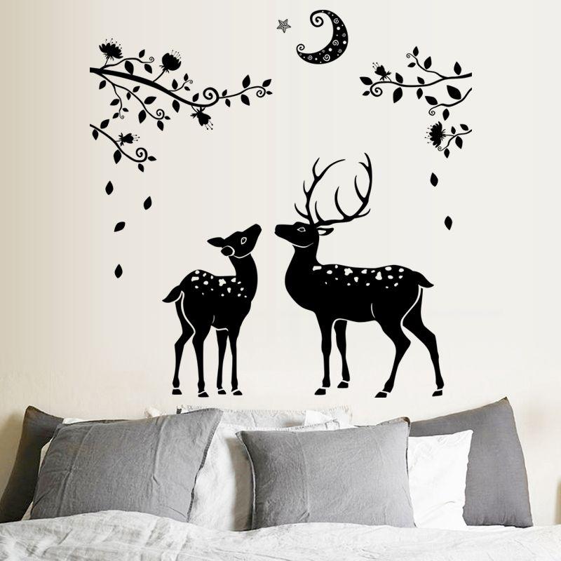 3d black deer wall sticker home deoration removable lovely cartoon