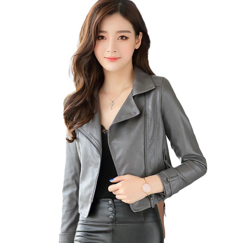 4e3de1fdb Autumn New Korean Locomotive PU Leather Women Short Leather Jacket Fashion  Wild Slim Small Female Outwear Coat YL301