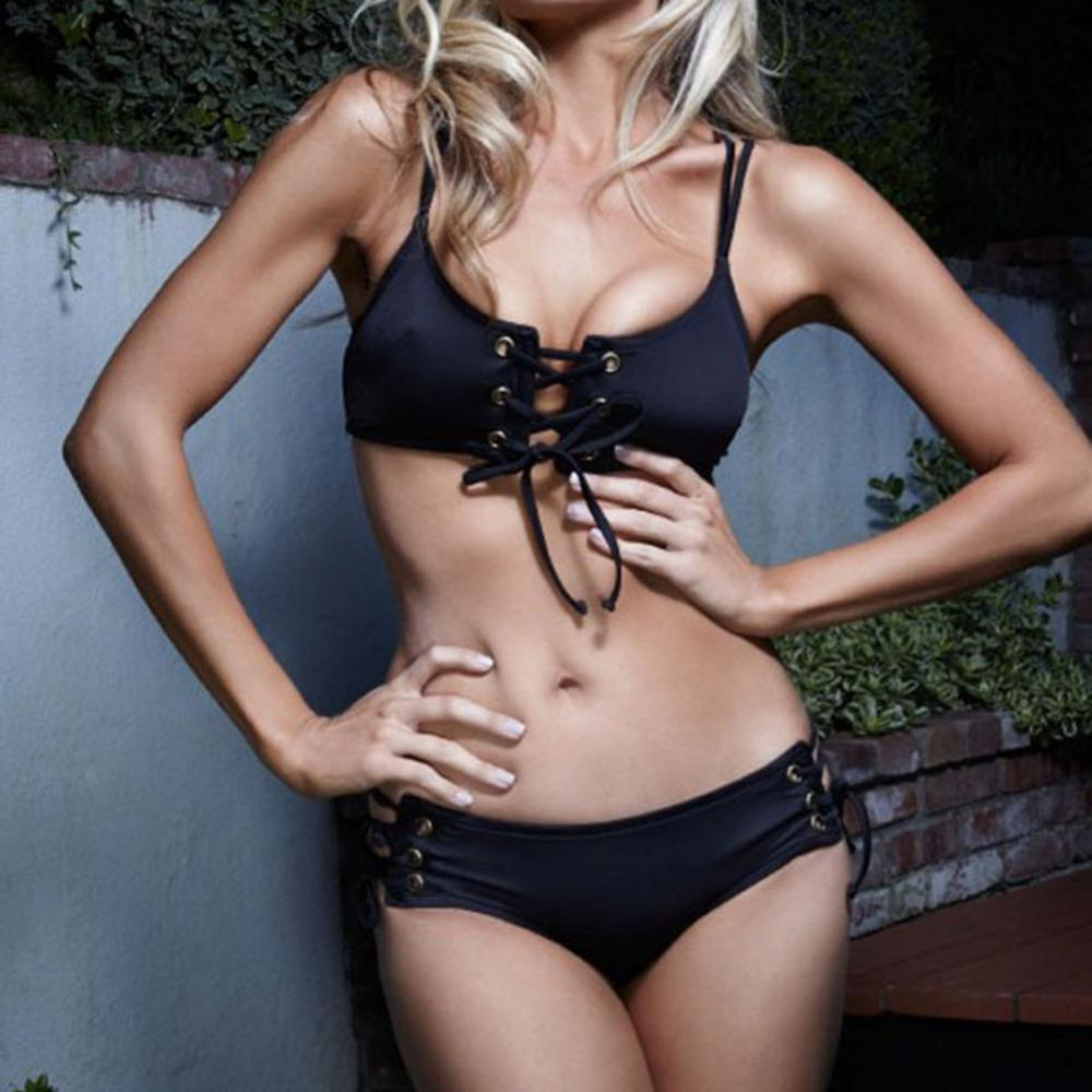 73b8468dd9652 2018 2018 Summer Sexy Women Bikini Set Black Drawstring Strap Hollow Chest  Push Up Swimsuit Bathing Suit Beachwear Plus Size S Xl From Xuqiuxiang3