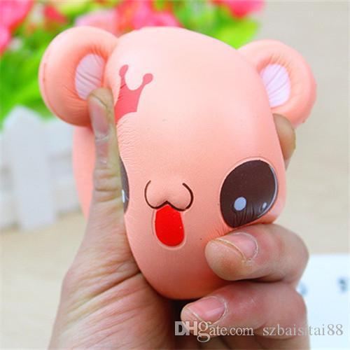 Cartoon Crown Bear Head Squishy Cute 9.5cm Jumbo Slow Rising Phone Straps Cartoon Cream Scented Bread Kid Fun Toy Gift