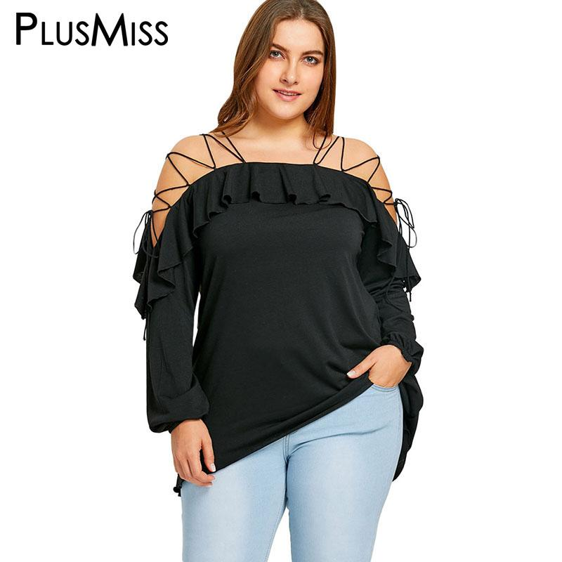 13ab68f5224 PlusMiss Plus Size 5XL Sexy Flounced Lace Up Off The Shoulder Top Vintage  Ruffle Loose Black Blouse Women Clothing Large Size UK 2019 From Meicloth