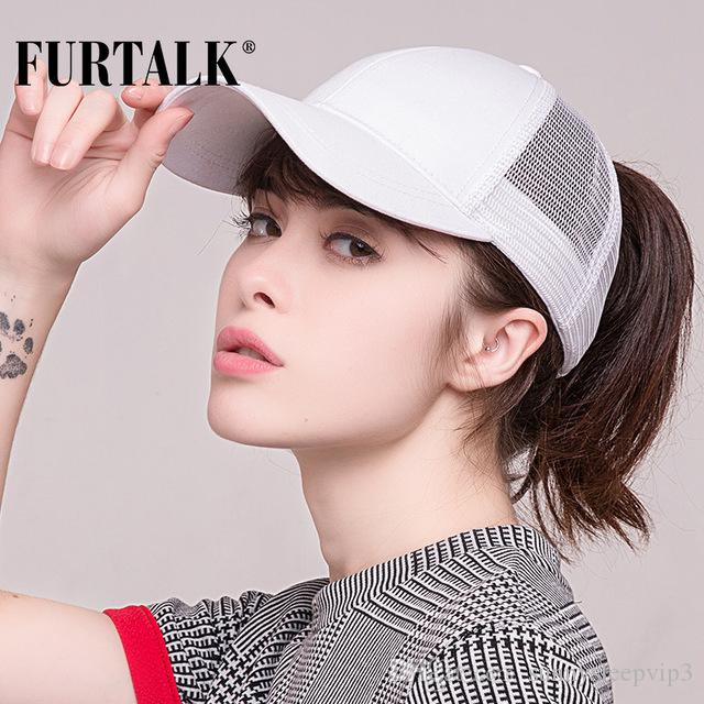 d86798d0 FURTALK 2018 Ponytail Baseball Cap Women Messy Bun Baseball Hat ...