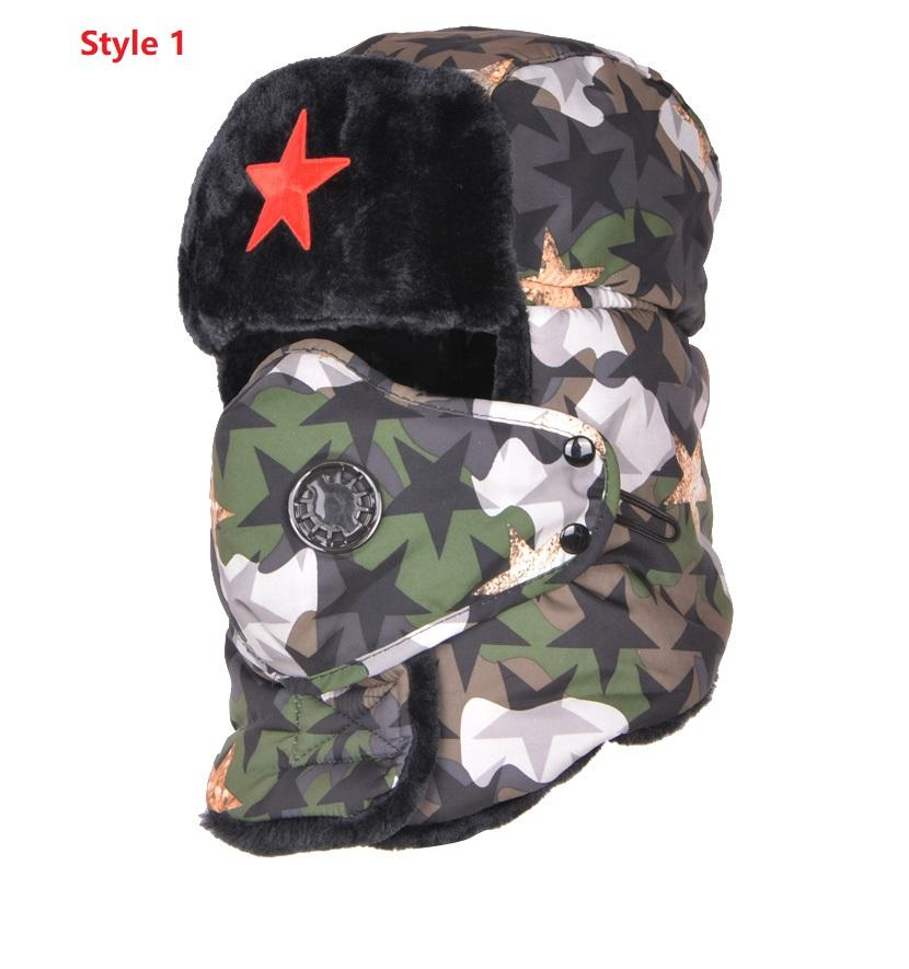 c7ee471f Adult Camouflage Bomber Hats Male Red Star Army Lei Feng Hat Winter Warm Ear  Protection Cap Men's Wind Proof Mask Cap B-8477