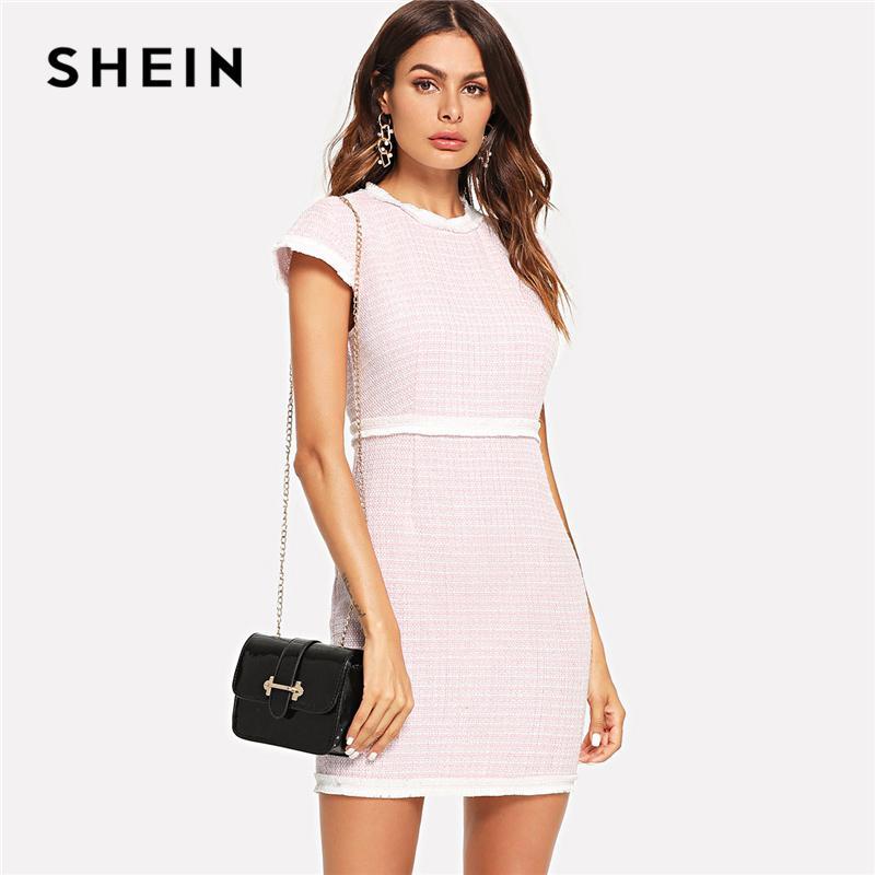 50143da478 SHEIN Pink Fringe Trim Fitted Tweed Dress Elegant Workwear Zipper Cap Sleeve  Dresses Women Ladies Tunic Short Summer Dress Designer Cocktail Dress Dress  ...