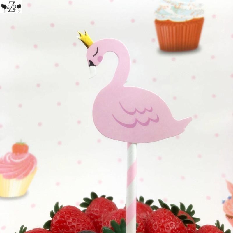 2019 Zljq Happy Birthday Crown Flamingo Pink Cute Cake Topper