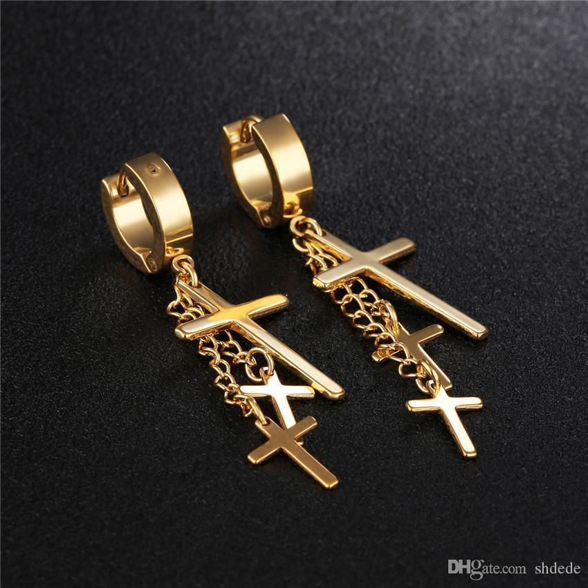 316l Acero inoxidable Cruz pendientes de gota para hombres mujeres Unisex Punk Vintage joyería de moda accesorios OE423