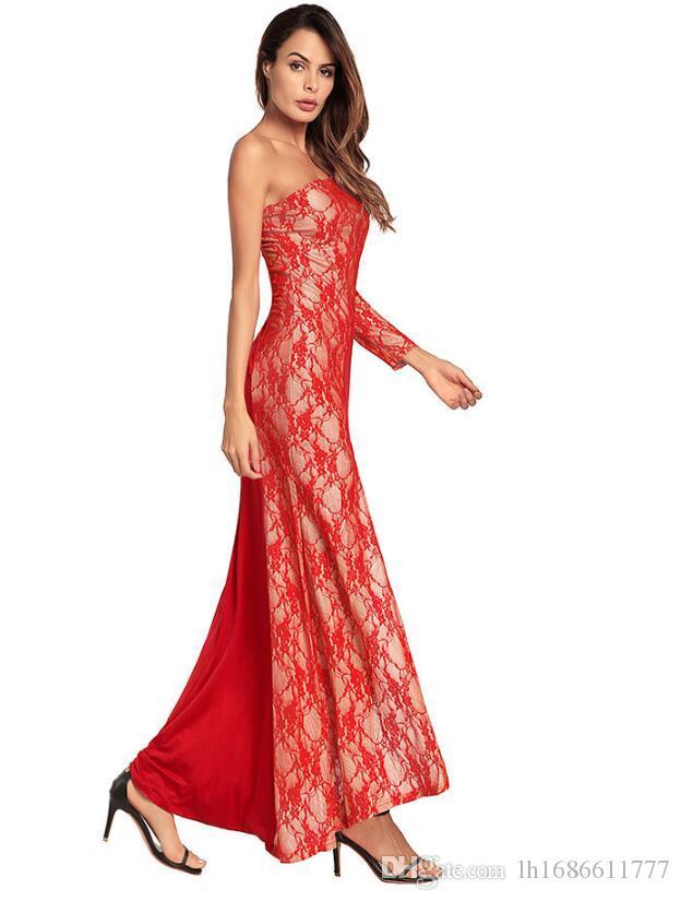 2020 Sommer-Kleid-Frauen-Schulter-lange Hülsen-Spitze-Maxi-Kleid-Dame-Partei-Kleid plus Größe Sexy Nachtclub-Kleid