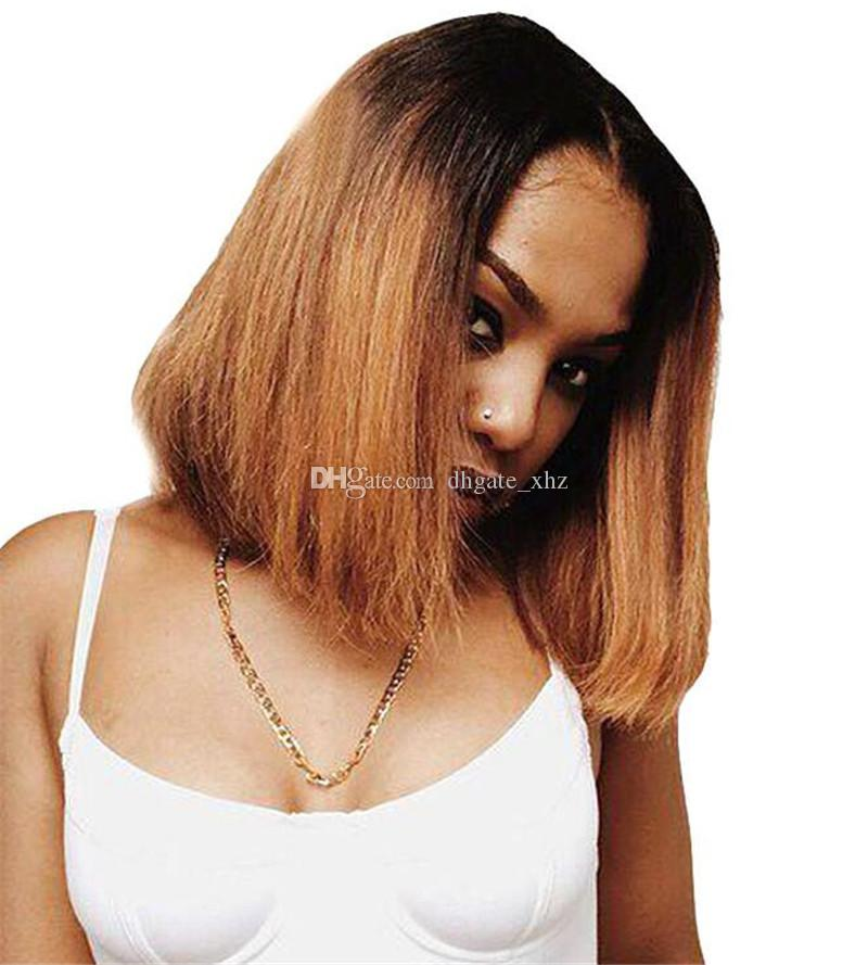 Brazilian Human Hair Glueless Wigs 1B 27 Ombre Silky Straight Middle Part Full Lace Wigs 130% Density For Black Women