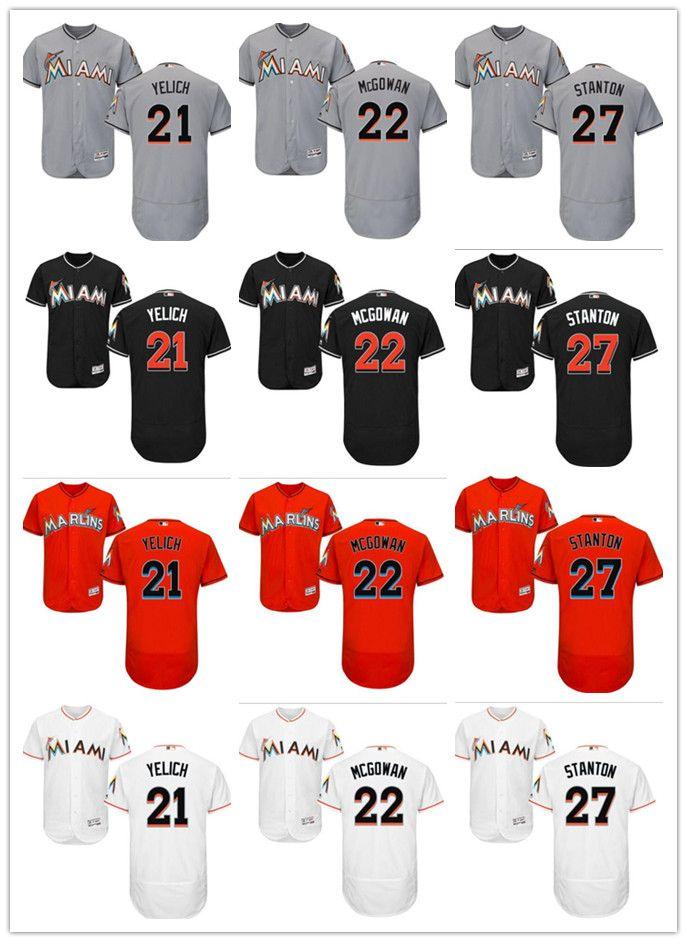 sale retailer 9aba5 97e56 custom Men women youth Marlins Jersey #21 Christian Yelich 22 Dustin  McGowan 27 Giancarlo Stanton Orange Baseball Jerseys