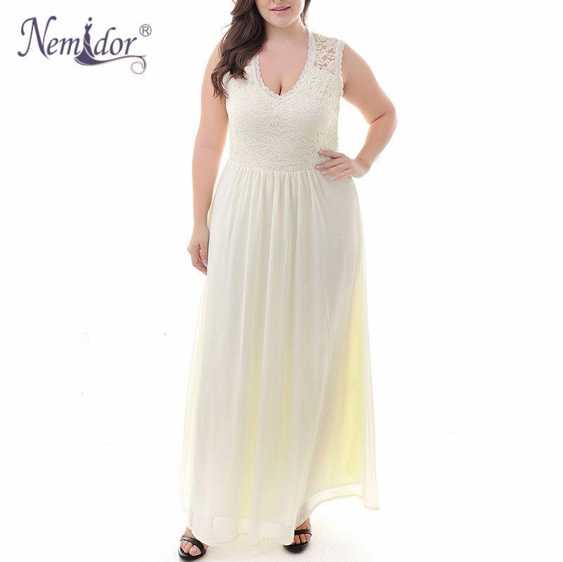 e252ffc486a 2019 X907 Nemidor Hot Sales Women Sexy Lace Top Deep V Neck Chiffon Party Dress  Plus Size 7XL 8XL 9XL Sleeveless Vintage Long Maxi Dress From Ruiqi03