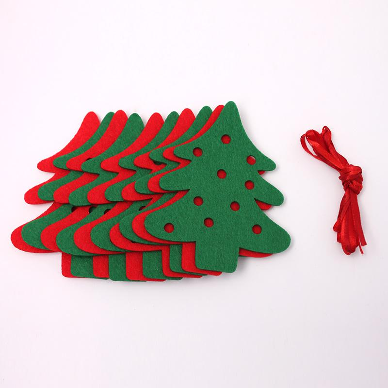Wholesale Christmas Garland 1 9meter 10pcs Xmas Tree Felt Cloth Double Side Flags Bunting Banner Garland X Mas Party Decor
