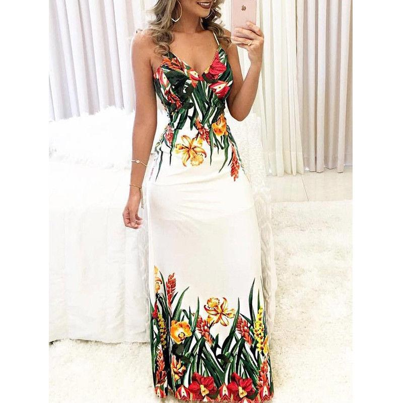 d4e9645ab5f Women Summer Dresses V-Neck Printing Sexy Boho Sleeveless Floral Casual Long  Maxi Evening Party Beach Dress Sundress Online with  37.67 Piece on  Qinfeng04 s ...
