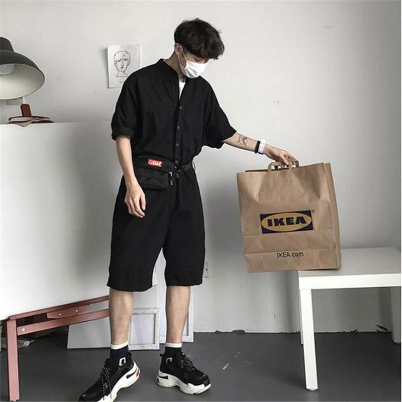 46fa951ab999 2019 Fashion Jumpsuit Mens Rompers High Street Shorts Jumpsuit Male  Handsome Baggy Overalls Short Sleeve Palysuit Cargo A5613 From Vikey18
