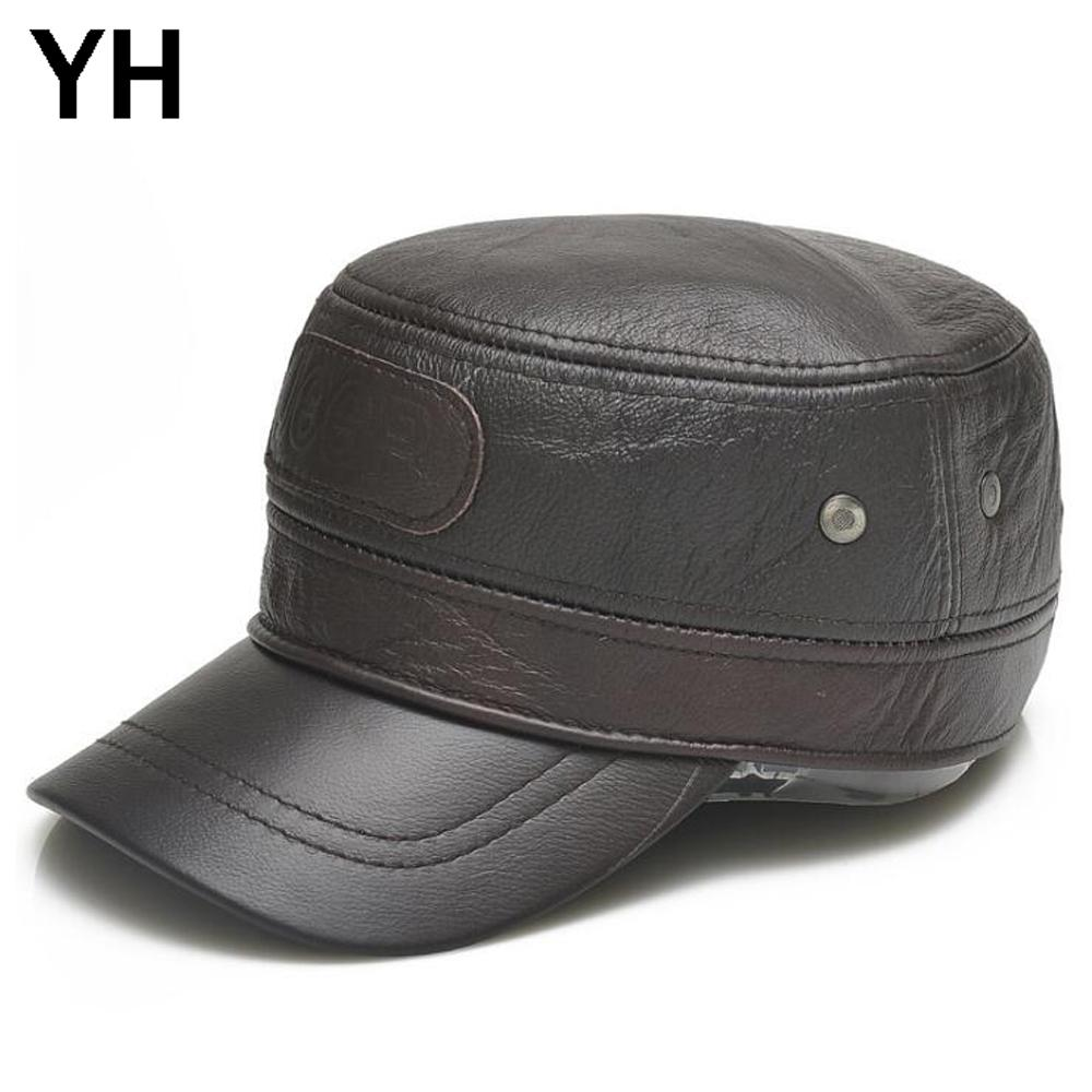 a080acc70 Men Genuine Leather Flat Top Hat Brand Casual Cowhide Leather Flat Top Hats  2018 New Style Men Fashiong Real Cowhide Cap