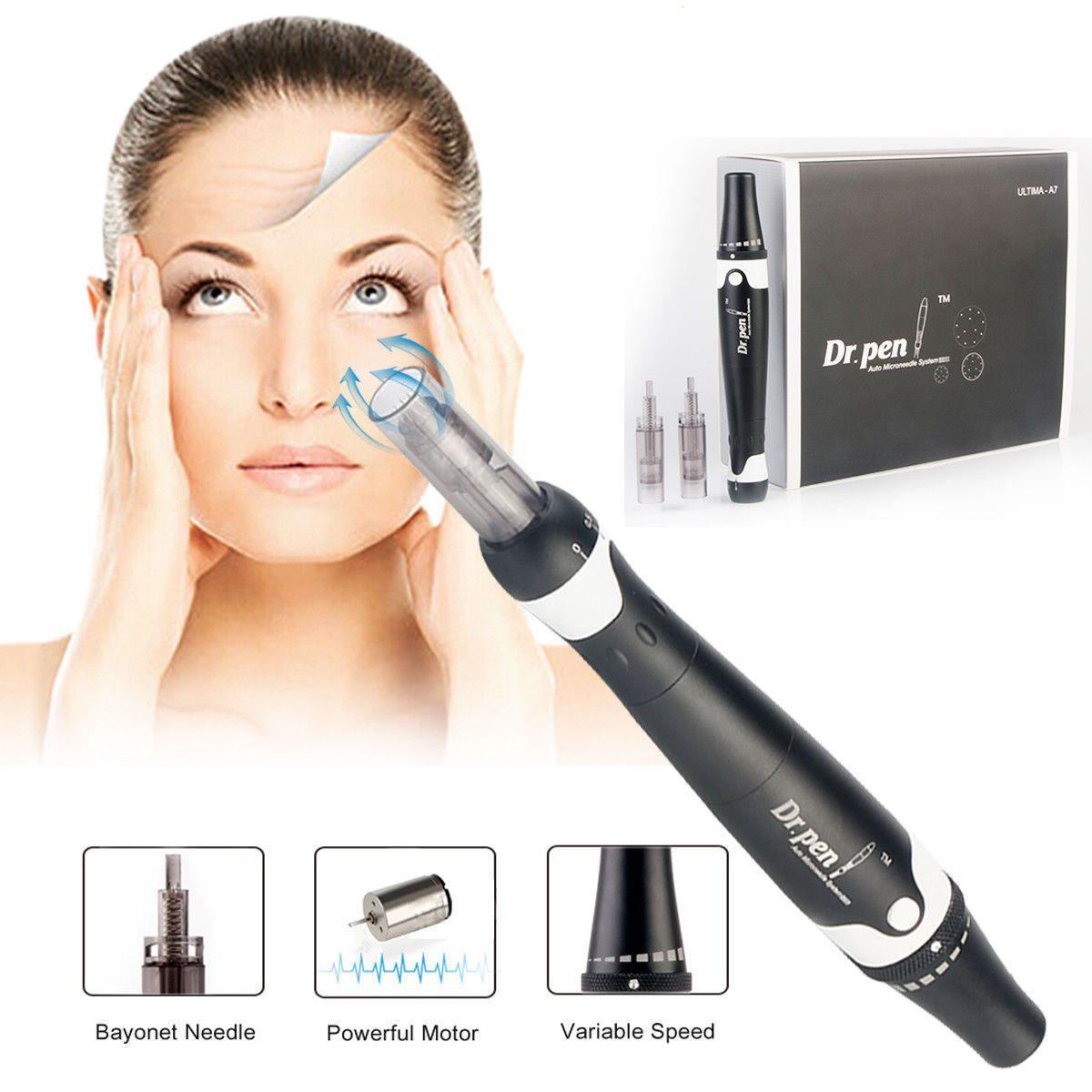 2018 Newest Derma Pen For Sale Dr pen A7 Microneedle Dermapen With 50pcs  Needle Cartridges For Scar Removal Acne Treatment Anti Hair Loss