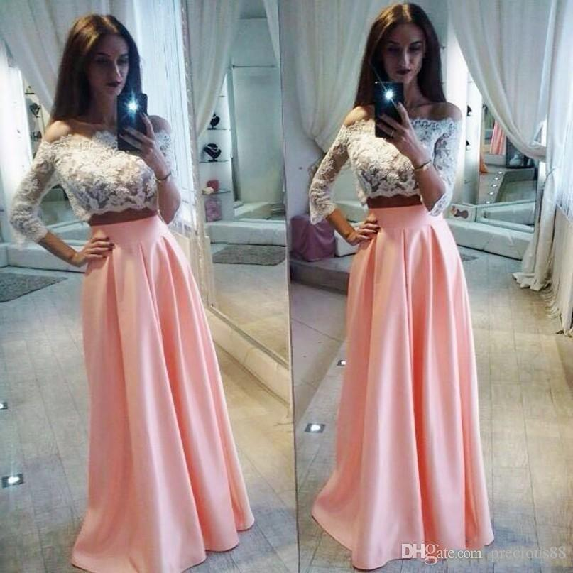 Two Pieces Party Dresses 3/4 Long Sleeves Prom Dress Vintage Lace ...