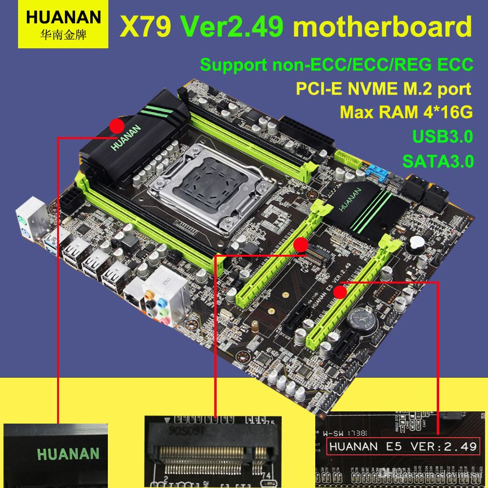 HUANAN golden V2.49 X79 motherboard LGA2011 ATX USB3.0 SATAI-E NVME M.2 SSD port Support REG ECC memory and Xeon E5 processor