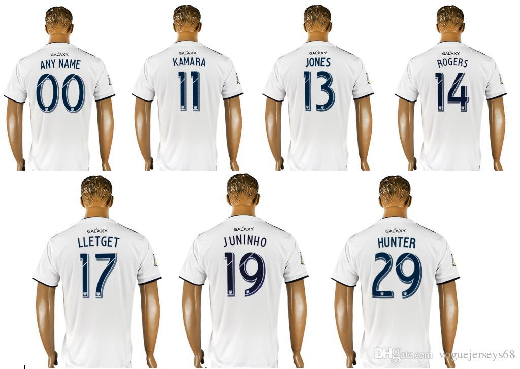 2019 2018 LA Galaxy  11 Ola Kamara 13 Cobi Jones 14 Rogers 17 Sebastian  Lletget 19 Juninho 29 Hunter Mens Uniforms Football Shirts Soccer Jerseys  From ... 71d6a6064