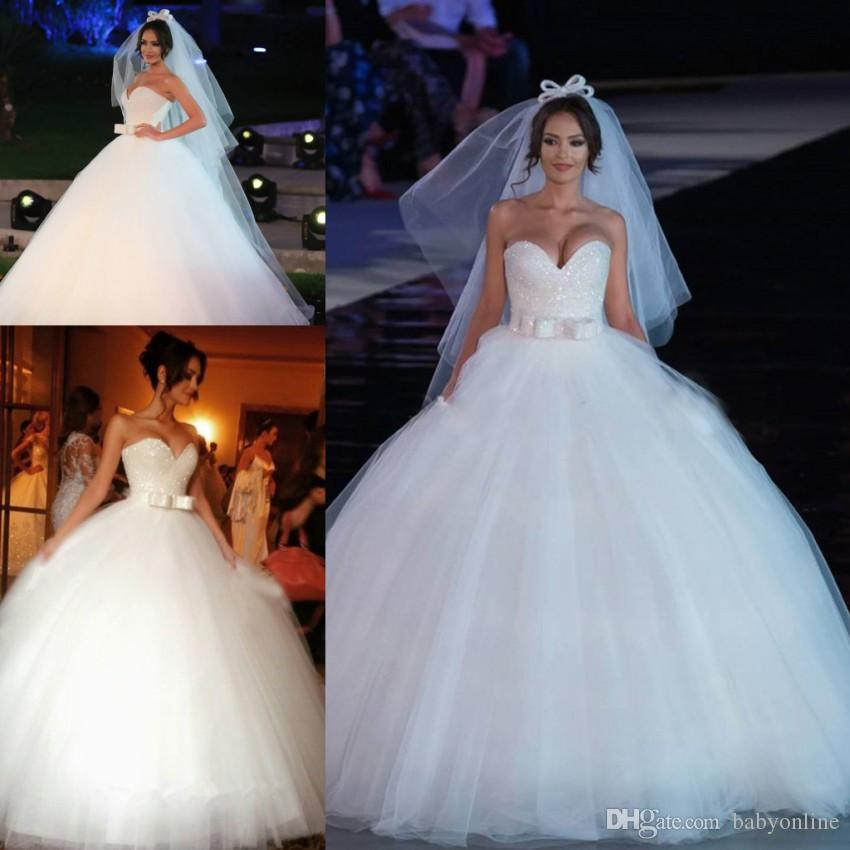 Princess Ball Gowns For Wedding: Princess White Ball Gown Wedding Dress 2019 Sweetheart