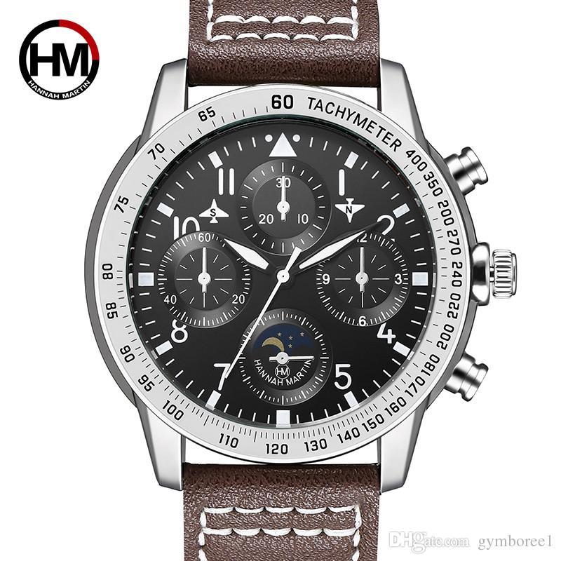 fb4958f6a08e Compre 2018 Nuevo Reloj De Cuarzo Para Hombre Grande Piloto Deportivo  Relojes Decorativo Pequeño Dial Correa De Cuero Casual Reloj De Pulsera  2256 A  13.71 ...