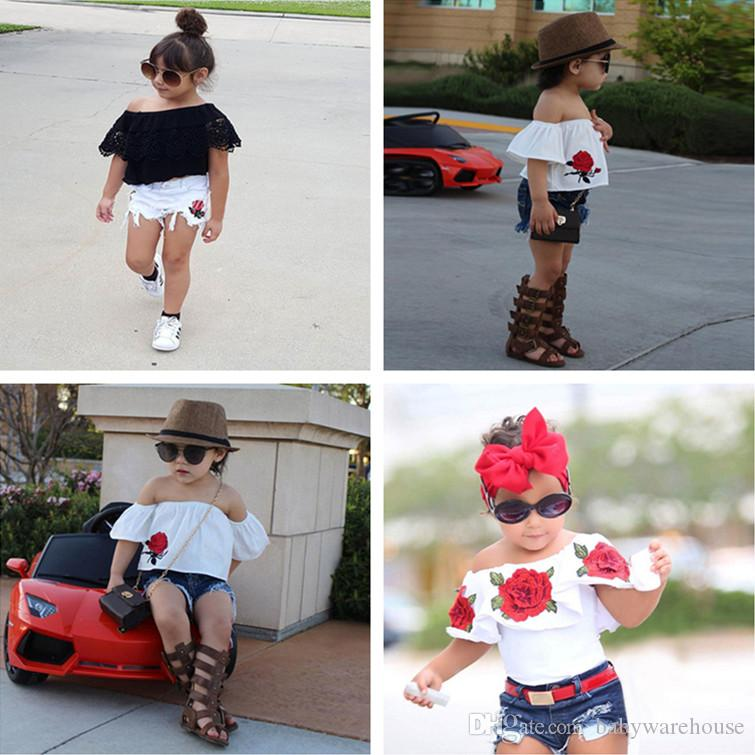Cute Toddler Clothing 2018 Summer Kids Baby Girls Clothes Set Flower Tops +  Denim Shorts Girls Outfits Fashion Children Clothing 2 7T UK 2019 From ... f4be47dbc0