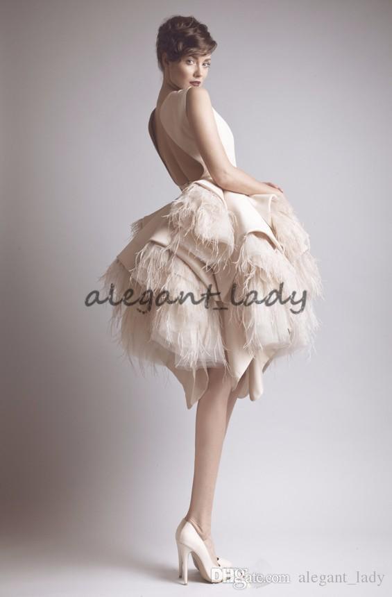 Ashi Studio Crew Neck Keyhole Back Tiers Satin Short A-Line Evening Dresses Wit Ostrich Feather Prom Celebrity Gowns krikor jabotian