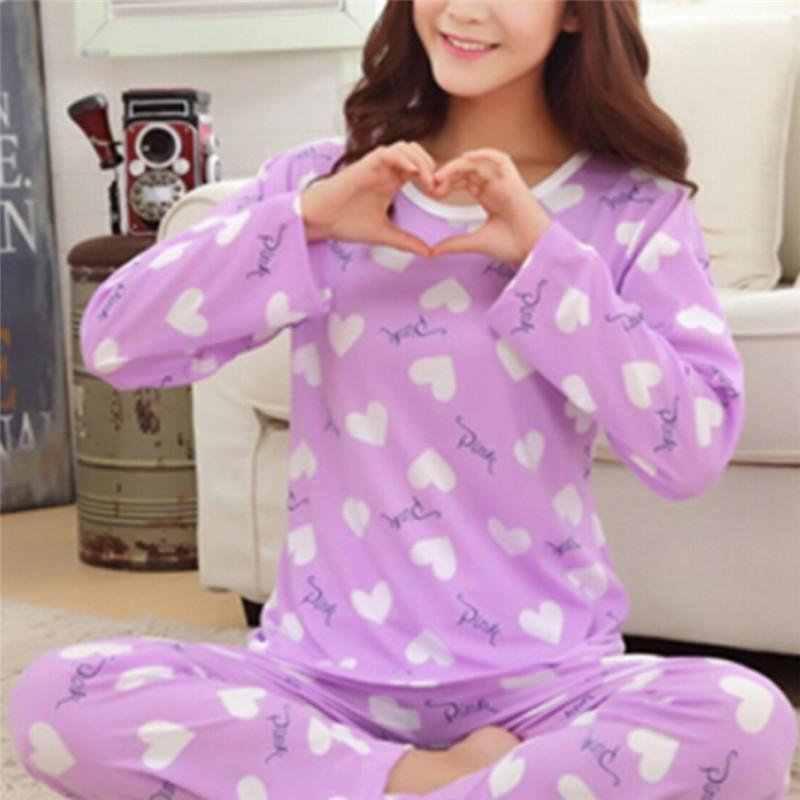 dc4f8891052e 2019 M L XL XXL Women Sleepwear Two Piece Sets Purple Love Women Long  Sleeve Tops And Pants Pajama Set Casual Nightwear From Kingflower